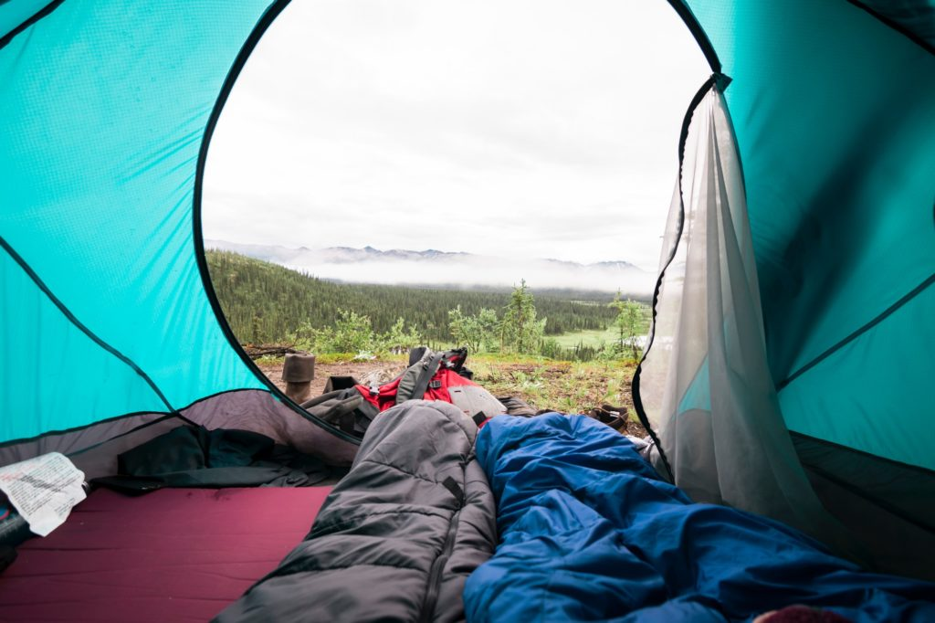 sleeping bag in tent