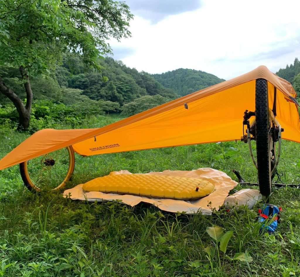 sleeping pad with bicycle
